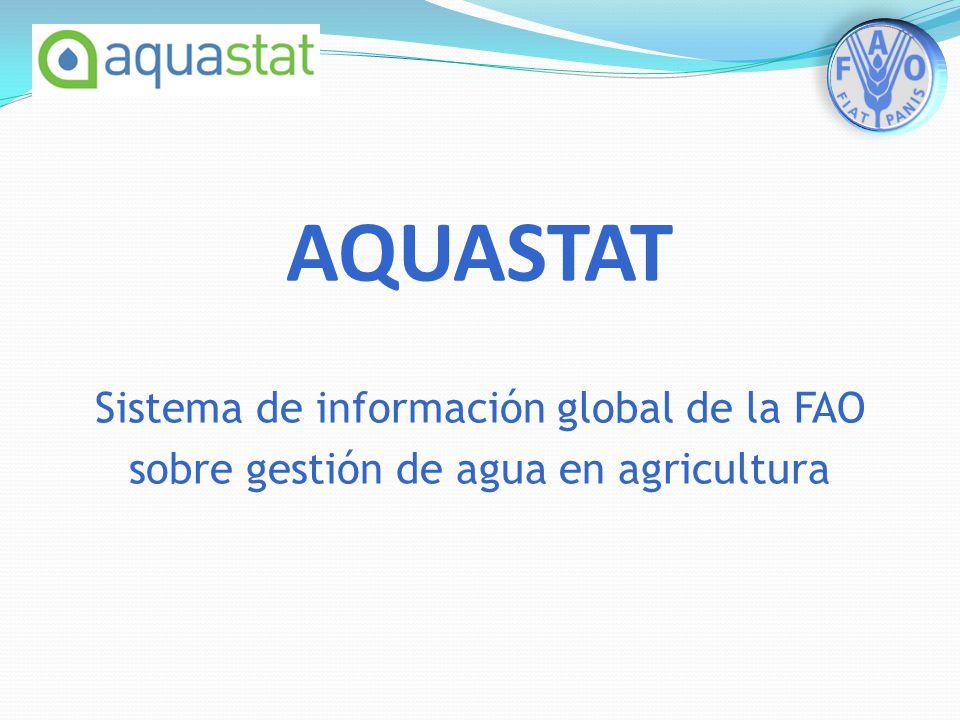 AQUASTAT Sistema de información global de la FAO sobre gestión de agua en agricultura