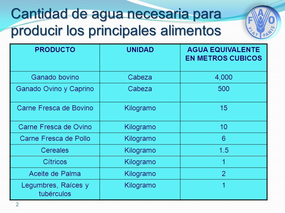 Cantidad de agua necesaria para producir los principales alimentos PRODUCTOUNIDADAGUA EQUIVALENTE EN METROS CUBICOS Ganado bovinoCabeza4,000 Ganado Ov