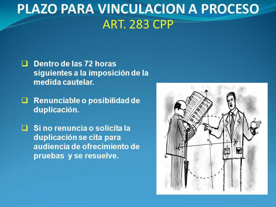 PLAZO PARA VINCULACION A PROCESO ART.