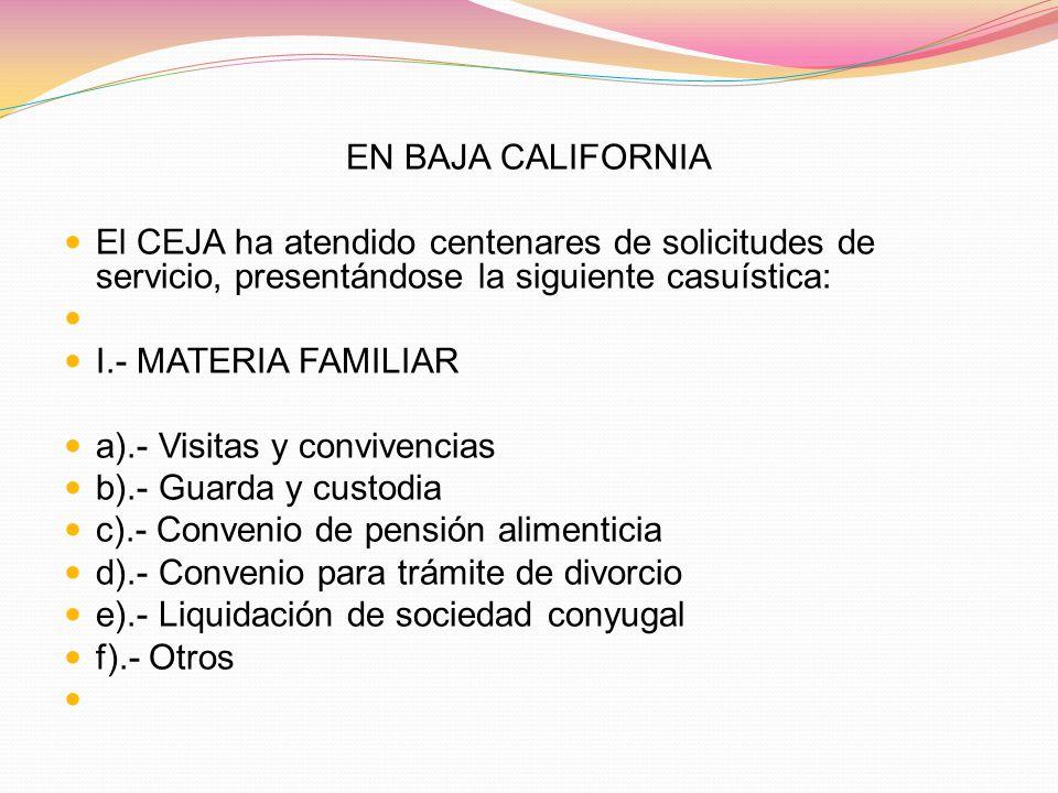 EN BAJA CALIFORNIA El CEJA ha atendido centenares de solicitudes de servicio, presentándose la siguiente casuística: I.- MATERIA FAMILIAR a).- Visitas