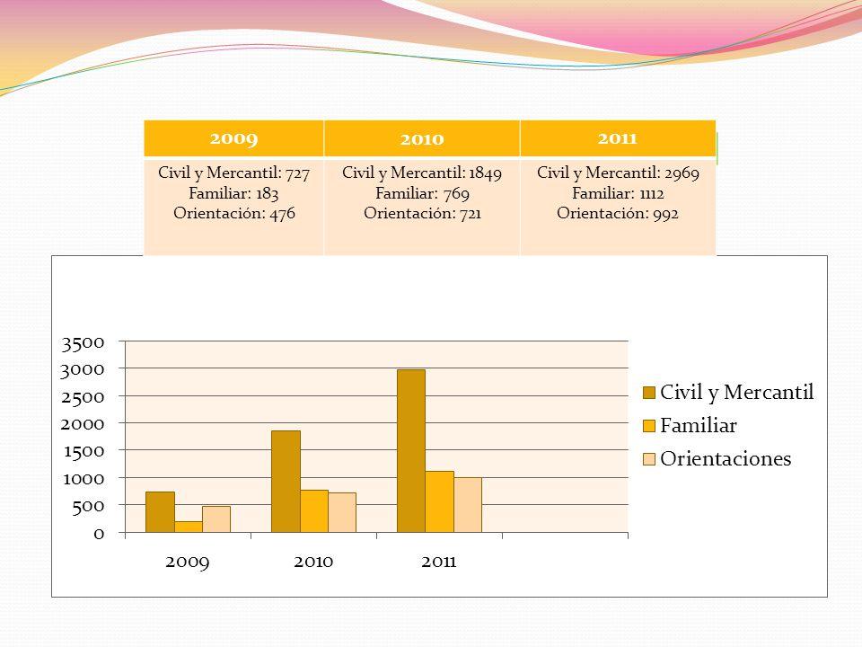 200920102011 Civil y Mercantil: 727 Familiar: 183 Orientación: 476 Civil y Mercantil: 1849 Familiar: 769 Orientación: 721 Civil y Mercantil: 2969 Fami