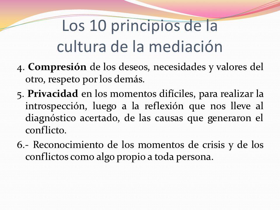 Los 10 principios de la cultura de la mediación 4. Compresión de los deseos, necesidades y valores del otro, respeto por los demás. 5. Privacidad en l