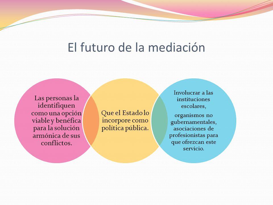 El futuro de la mediación Las personas la identifiquen como una opción viable y benéfica para la solución armónica de sus conflictos. Que el Estado lo