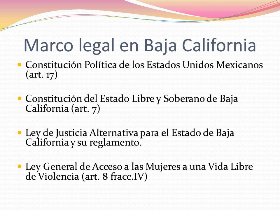 Marco legal en Baja California Constitución Política de los Estados Unidos Mexicanos (art. 17) Constitución del Estado Libre y Soberano de Baja Califo