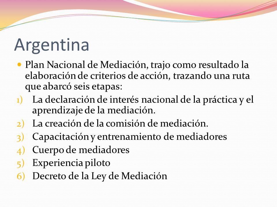 Argentina Plan Nacional de Mediación, trajo como resultado la elaboración de criterios de acción, trazando una ruta que abarcó seis etapas: 1) La decl