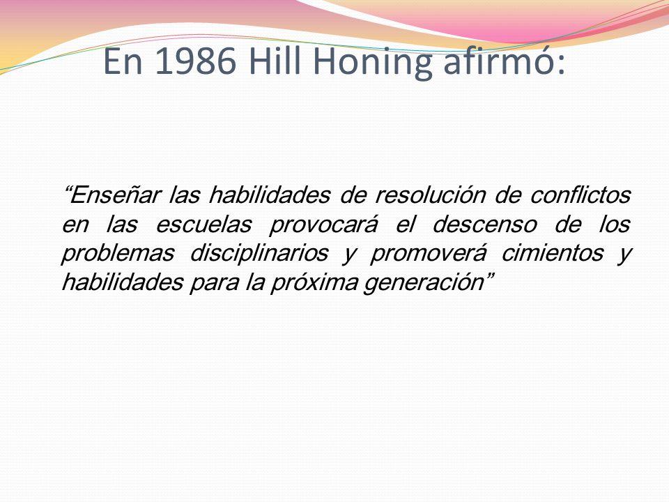 En 1986 Hill Honing afirmó: Enseñar las habilidades de resolución de conflictos en las escuelas provocará el descenso de los problemas disciplinarios
