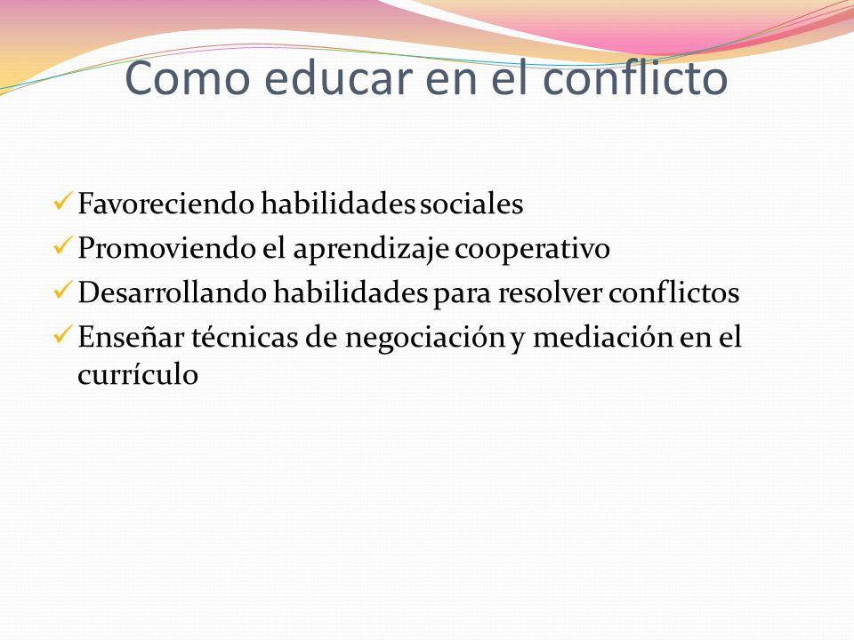 Como educar en el conflicto Favoreciendo habilidades sociales Promoviendo el aprendizaje cooperativo Desarrollando habilidades para resolver conflicto