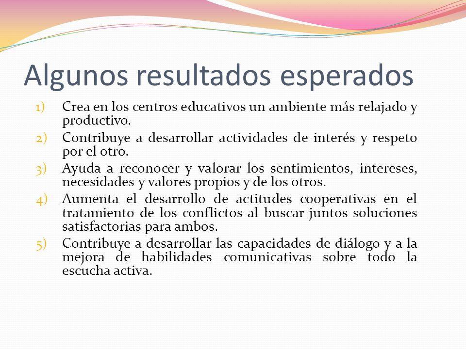 Algunos resultados esperados 1) Crea en los centros educativos un ambiente más relajado y productivo. 2) Contribuye a desarrollar actividades de inter