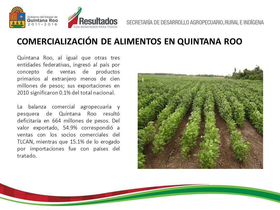 Quintana Roo, al igual que otras tres entidades federativas, ingresó al país por concepto de ventas de productos primarios al extranjero menos de cien millones de pesos; sus exportaciones en 2010 significaron 0.1% del total nacional.