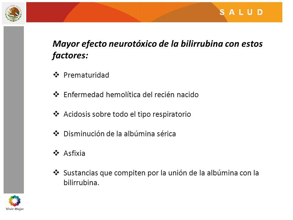 Mayor efecto neurotóxico de la bilirrubina con estos factores: Prematuridad Enfermedad hemolítica del recién nacido Acidosis sobre todo el tipo respir