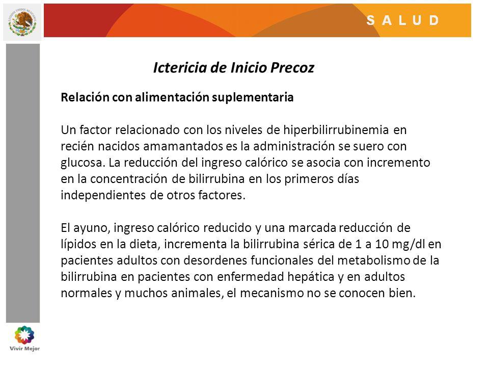 Ictericia de Inicio Precoz Relación con alimentación suplementaria Un factor relacionado con los niveles de hiperbilirrubinemia en recién nacidos amam