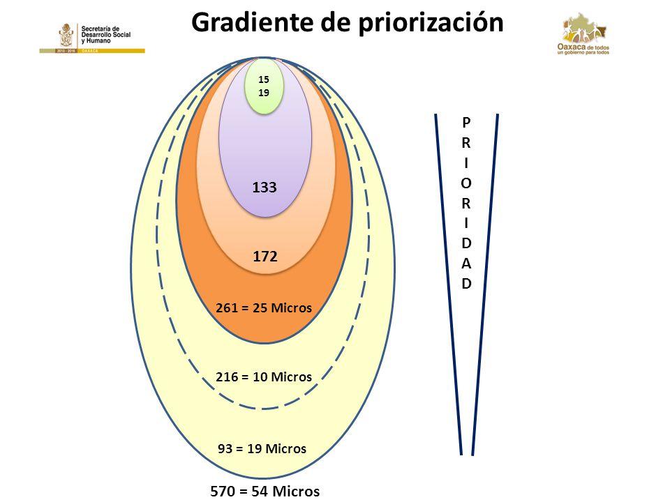 93 = 19 Micros PRIORIDADPRIORIDAD 261 = 25 Micros 172 133 15 19 15 19 216 = 10 Micros 570 = 54 Micros Gradiente de priorización