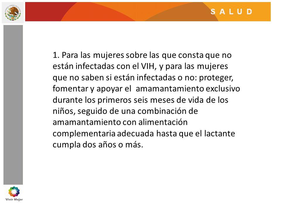 1. Para las mujeres sobre las que consta que no están infectadas con el VIH, y para las mujeres que no saben si están infectadas o no: proteger, fomen