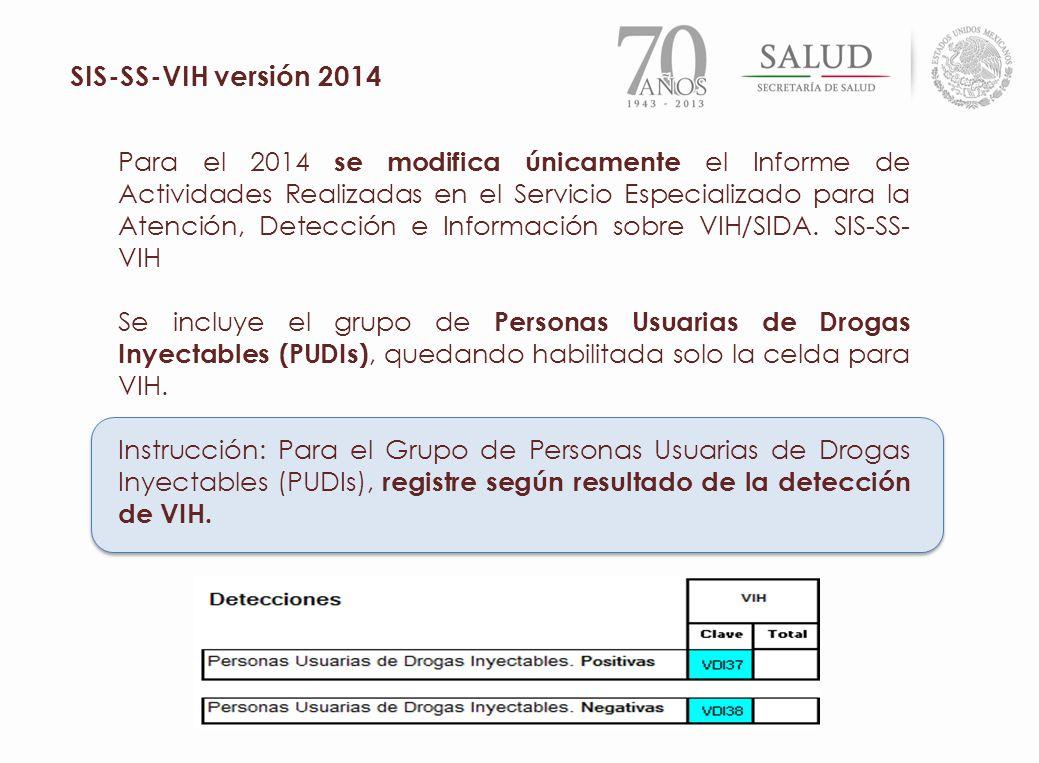 Para el 2014 se modifica únicamente el Informe de Actividades Realizadas en el Servicio Especializado para la Atención, Detección e Información sobre