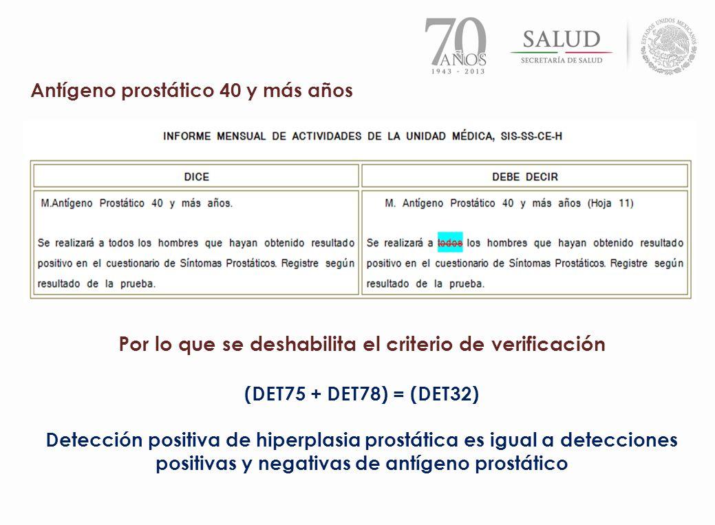 Antígeno prostático 40 y más años Por lo que se deshabilita el criterio de verificación (DET75 + DET78) = (DET32) Detección positiva de hiperplasia pr