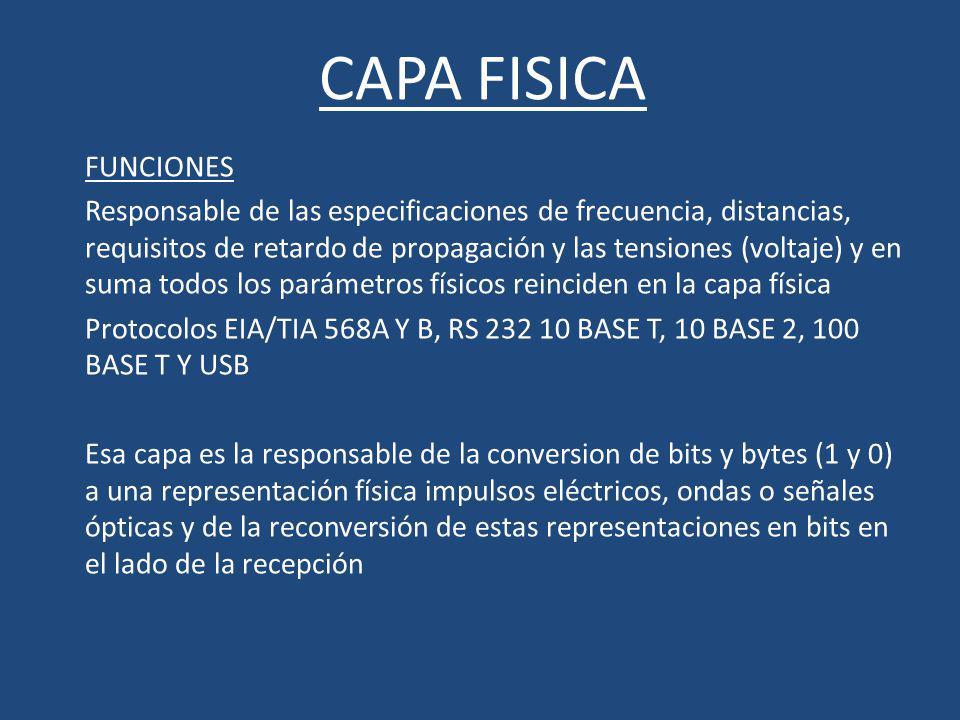 CAPA FISICA FUNCIONES Responsable de las especificaciones de frecuencia, distancias, requisitos de retardo de propagación y las tensiones (voltaje) y