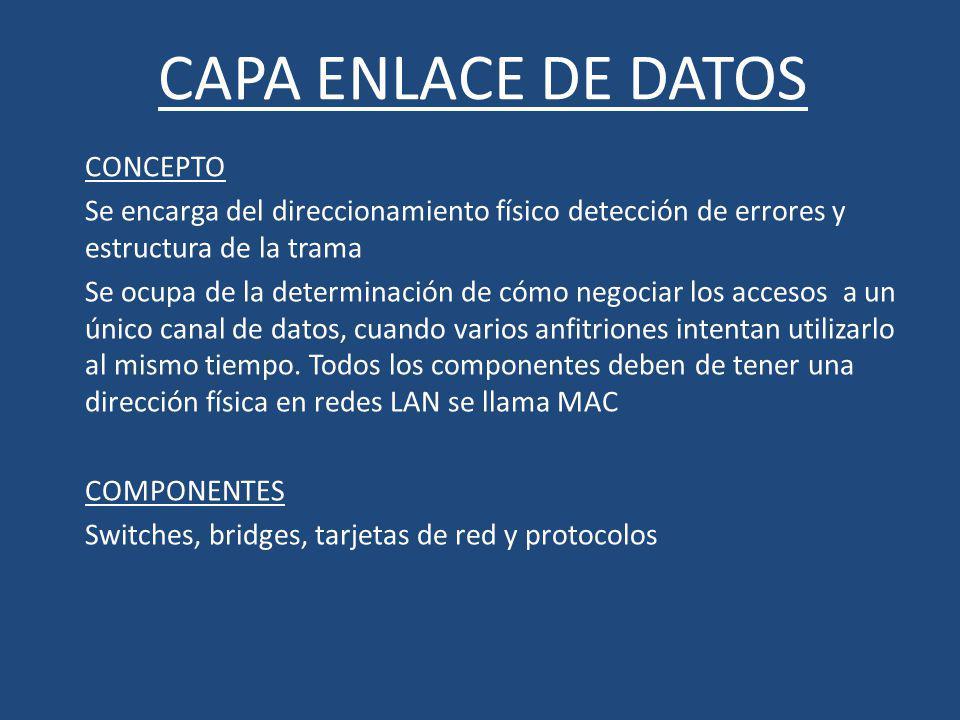 CAPA ENLACE DE DATOS CONCEPTO Se encarga del direccionamiento físico detección de errores y estructura de la trama Se ocupa de la determinación de cóm