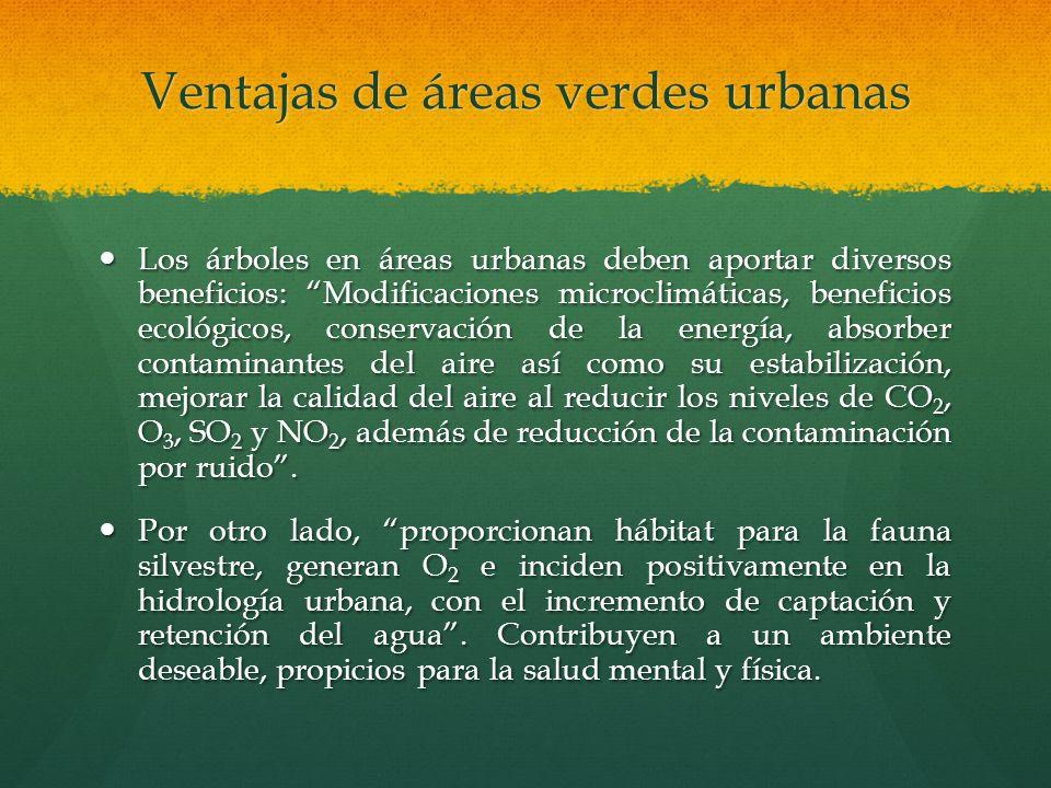 Ventajas de áreas verdes urbanas Los árboles en áreas urbanas deben aportar diversos beneficios: Modificaciones microclimáticas, beneficios ecológicos