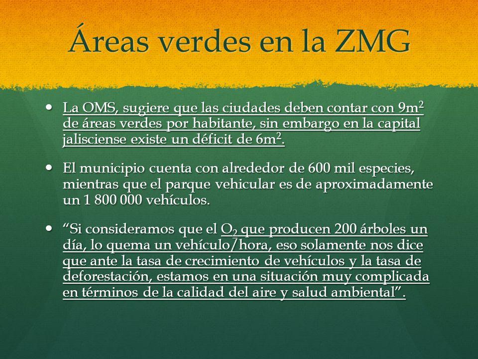 Áreas verdes en la ZMG La OMS, sugiere que las ciudades deben contar con 9m 2 de áreas verdes por habitante, sin embargo en la capital jalisciense exi