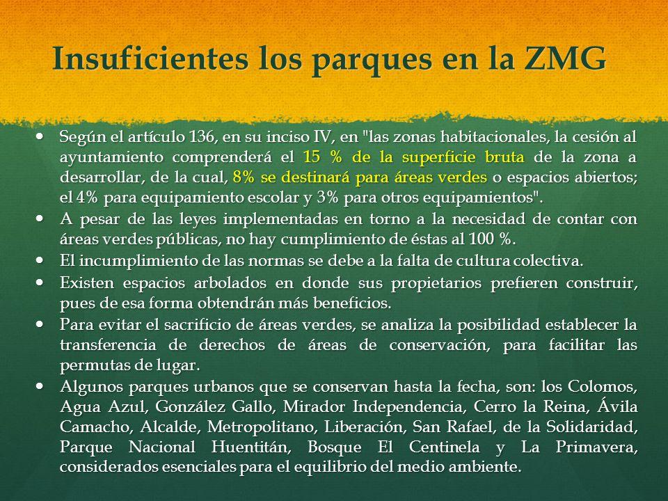 Insuficientes los parques en la ZMG Según el artículo 136, en su inciso IV, en