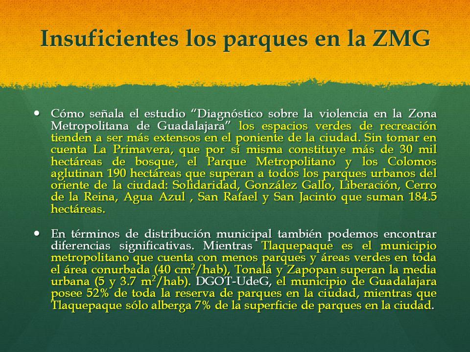 Cómo señala el estudio Diagnóstico sobre la violencia en la Zona Metropolitana de Guadalajara los espacios verdes de recreación tienden a ser más exte