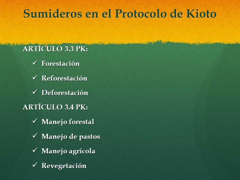 Sumideros en el Protocolo de Kioto ARTÍCULO 3.3 PK: Forestación Forestación Reforestación Reforestación Deforestación Deforestación ARTÍCULO 3.4 PK: M