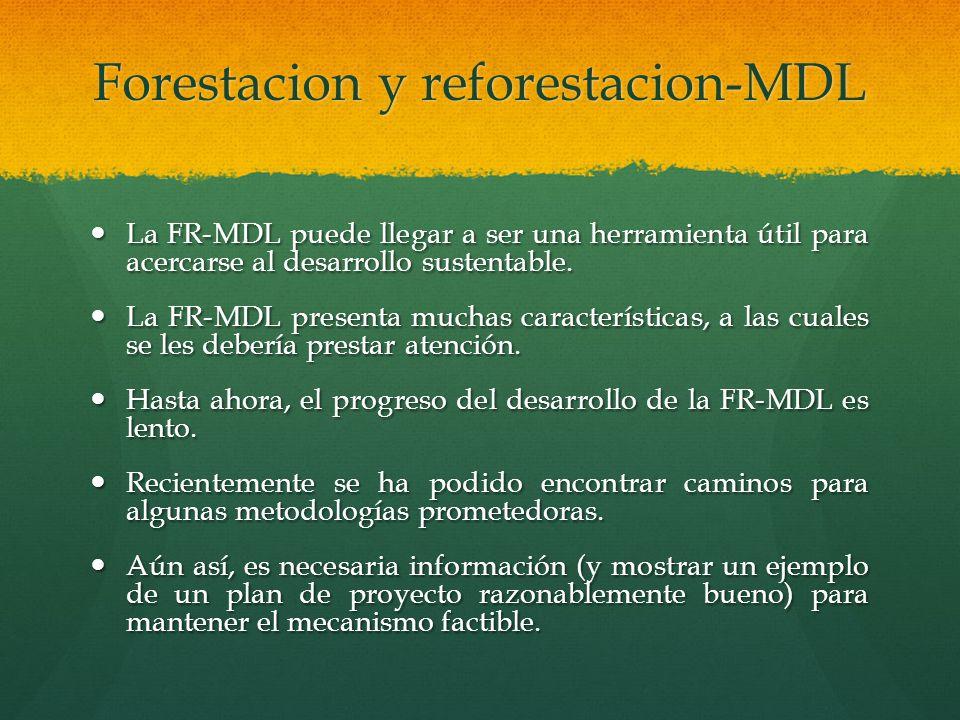 Forestacion y reforestacion-MDL La FR-MDL puede llegar a ser una herramienta útil para acercarse al desarrollo sustentable. La FR-MDL puede llegar a s