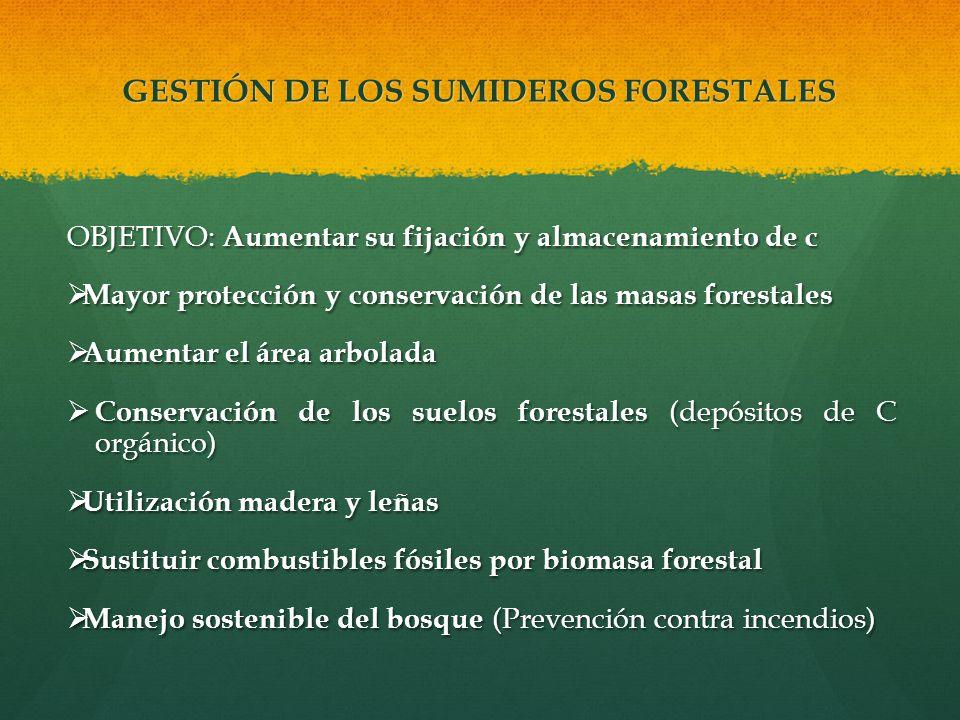 GESTIÓN DE LOS SUMIDEROS FORESTALES OBJETIVO: Aumentar su fijación y almacenamiento de c Mayor protección y conservación de las masas forestales Mayor
