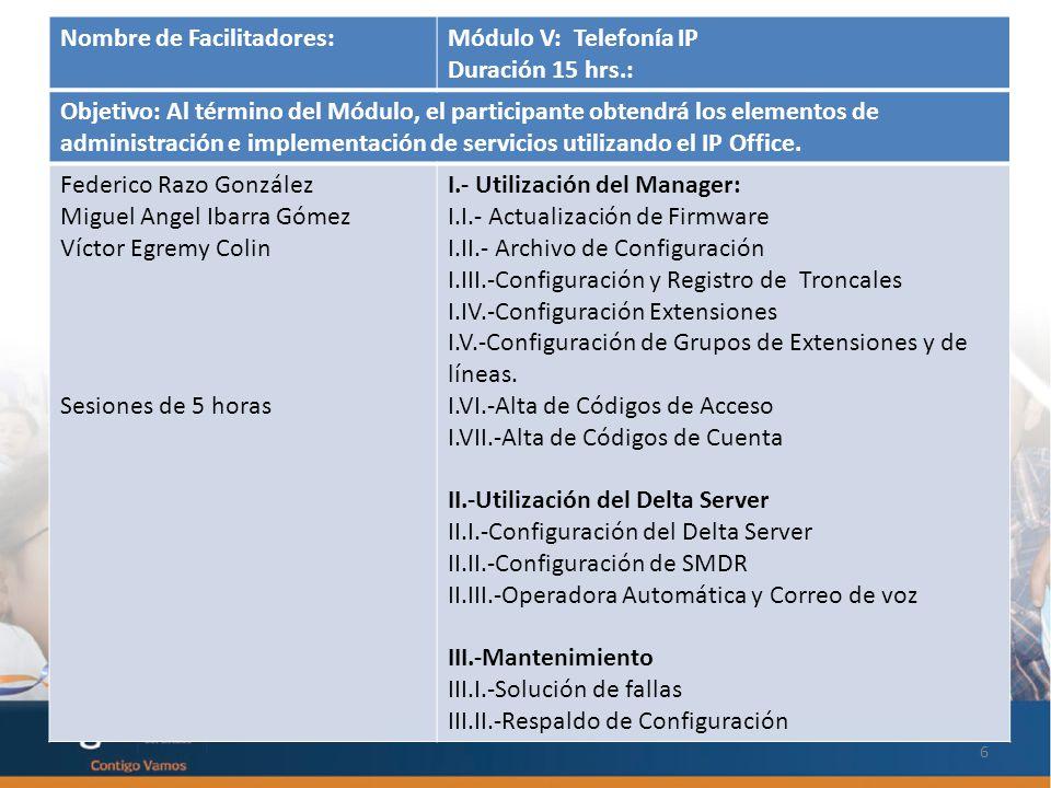 PARTICIPANTES: 6 Nombre de Facilitadores:Módulo V: Telefonía IP Duración 15 hrs.: Objetivo: Al término del Módulo, el participante obtendrá los elementos de administración e implementación de servicios utilizando el IP Office.