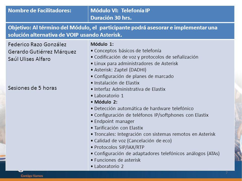 7 Nombre de Facilitadores:Módulo VI: Telefonía IP Duración 30 hrs.
