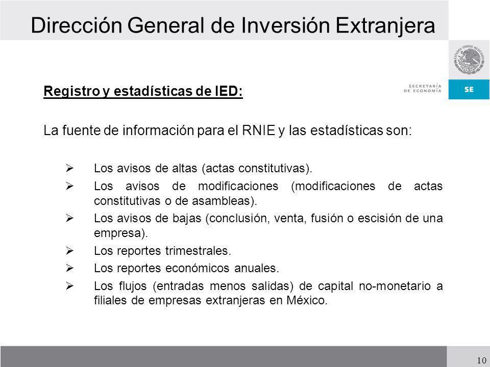 Dirección General de Inversión Extranjera Registro y estadísticas de IED: La fuente de información para el RNIE y las estadísticas son: Los avisos de