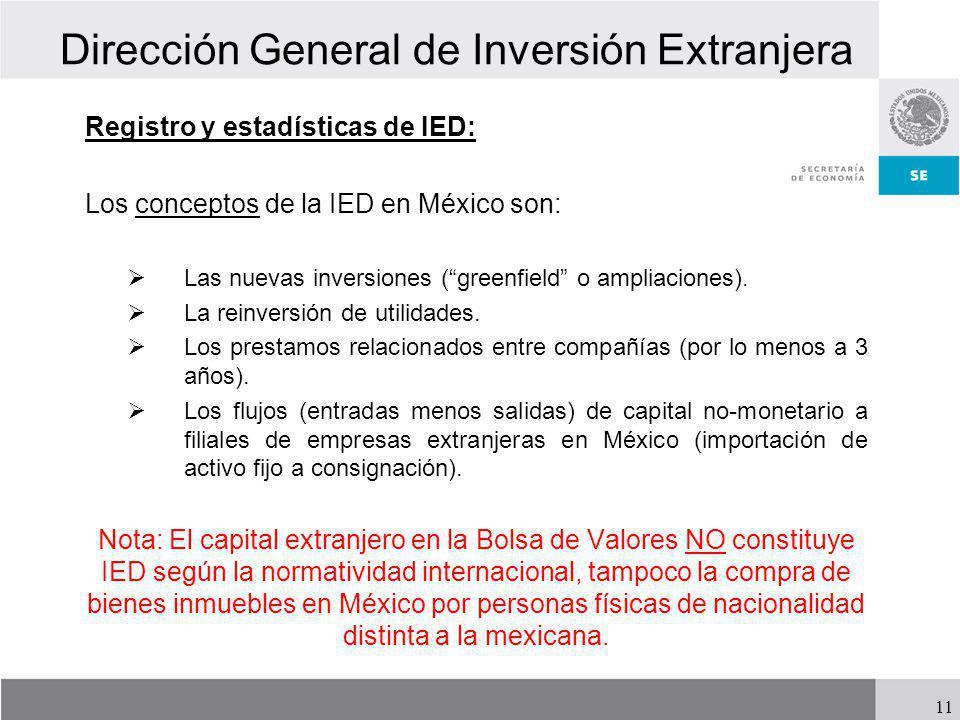 Dirección General de Inversión Extranjera Registro y estadísticas de IED: Los conceptos de la IED en México son: Las nuevas inversiones (greenfield o