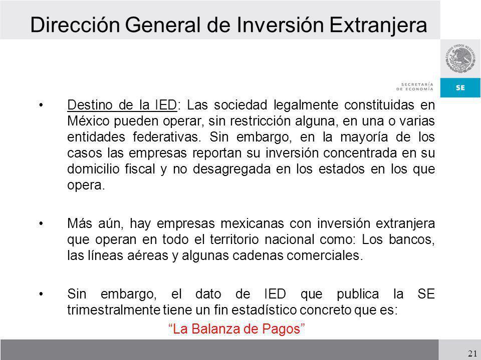 Dirección General de Inversión Extranjera Destino de la IED: Las sociedad legalmente constituidas en México pueden operar, sin restricción alguna, en