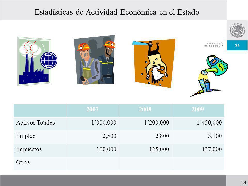 Estadísticas de Actividad Económica en el Estado 200720082009 Activos Totales1´000,0001´200,0001´450,000 Empleo2,5002,8003,100 Impuestos100,000125,000