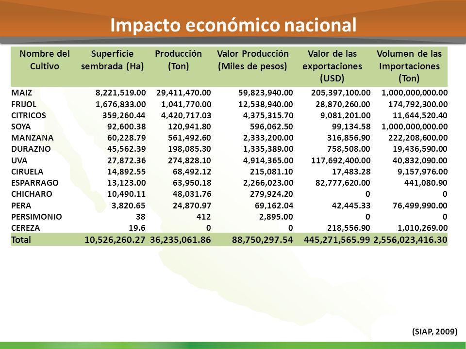 Impacto económico nacional (SIAP, 2009) Nombre del Cultivo Superficie sembrada (Ha) Producción (Ton) Valor Producción (Miles de pesos) Valor de las ex