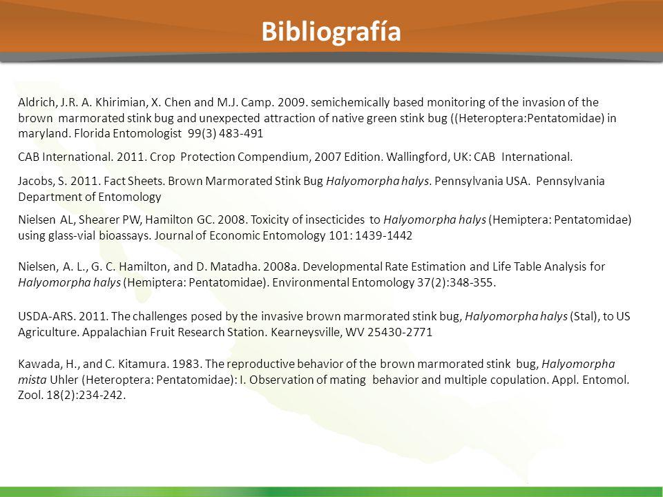 Nielsen AL, Shearer PW, Hamilton GC. 2008. Toxicity of insecticides to Halyomorpha halys (Hemiptera: Pentatomidae) using glass-vial bioassays. Journal