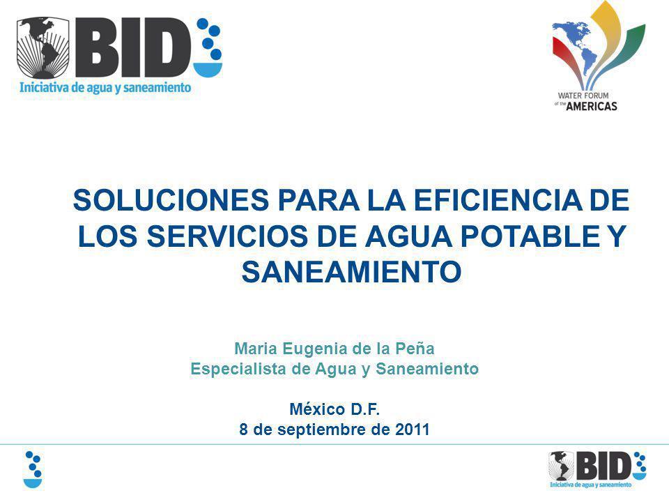 SOLUCIONES PARA LA EFICIENCIA DE LOS SERVICIOS DE AGUA POTABLE Y SANEAMIENTO Maria Eugenia de la Peña Especialista de Agua y Saneamiento México D.F. 8