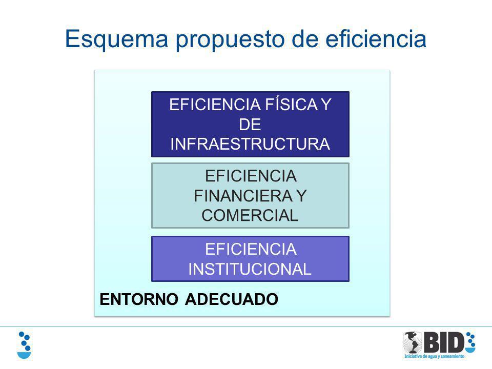 ENTORNO ADECUADO EFICIENCIA FÍSICA Y DE INFRAESTRUCTURA EFICIENCIA FINANCIERA Y COMERCIAL EFICIENCIA INSTITUCIONAL Esquema propuesto de eficiencia