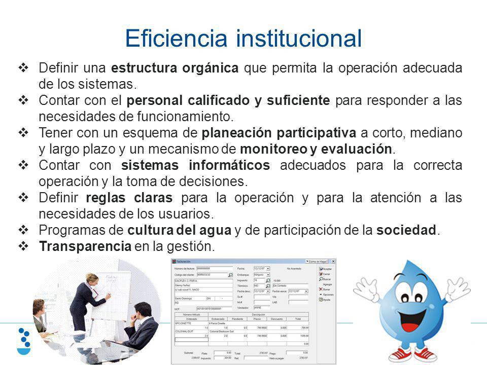 Eficiencia institucional Definir una estructura orgánica que permita la operación adecuada de los sistemas. Contar con el personal calificado y sufici