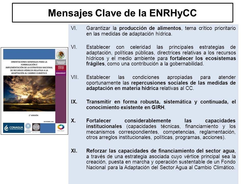 Mensajes Clave de la ENRHyCC VI.Garantizar la producción de alimentos, tema crítico prioritario en las medidas de adaptación hídrica.