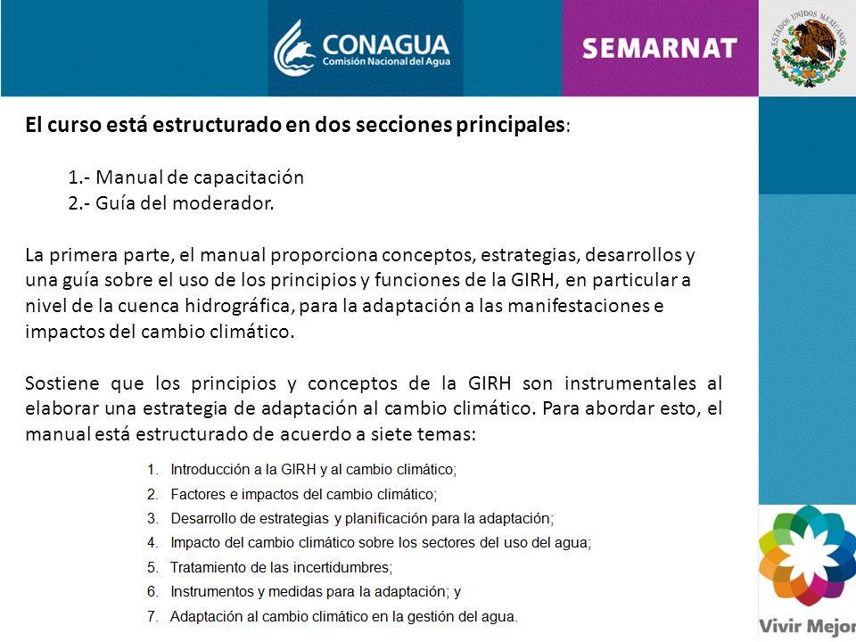 El curso está estructurado en dos secciones principales : 1.- Manual de capacitación 2.- Guía del moderador.