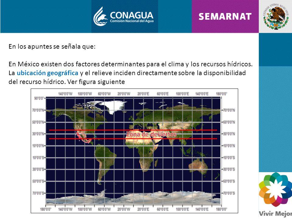 En los apuntes se señala que: En México existen dos factores determinantes para el clima y los recursos hídricos.