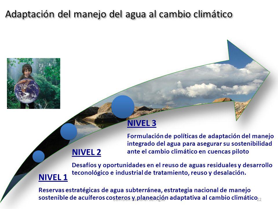 NIVEL 1 Reservas estratégicas de agua subterránea, estrategia nacional de manejo sostenible de acuíferos costeros y planeación adaptativa al cambio climático NIVEL 2 Desafíos y oportunidades en el reuso de aguas residuales y desarrollo teconológico e industrial de tratamiento, reuso y desalación.