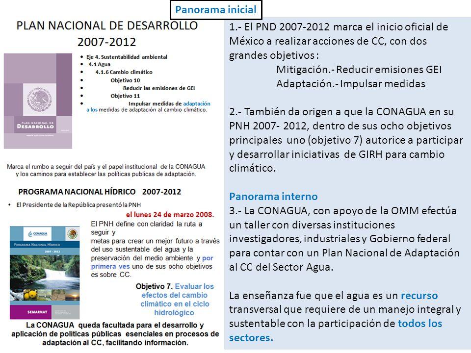 1.- El PND 2007-2012 marca el inicio oficial de México a realizar acciones de CC, con dos grandes objetivos : Mitigación.- Reducir emisiones GEI Adaptación.- Impulsar medidas 2.- También da origen a que la CONAGUA en su PNH 2007- 2012, dentro de sus ocho objetivos principales uno (objetivo 7) autorice a participar y desarrollar iniciativas de GIRH para cambio climático.