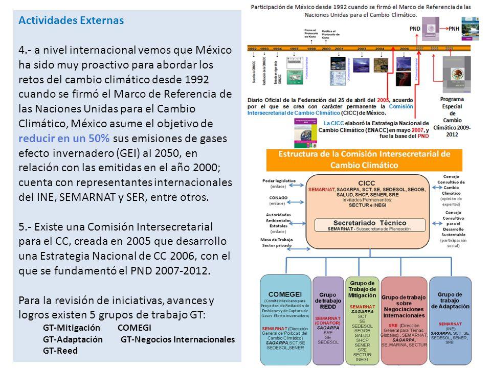 6.- Existe un Programa Especial de CC, PECC- 2009-2012 instrumento de política transversal que compromete a las dependencias del Gobierno Federal con objetivos y metas nacionales vinculantes en mitigación y adaptación para el periodo 2009-2012.