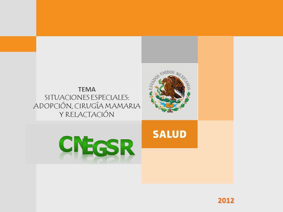 2012 2012 TEMA SITUACIONES ESPECIALES: ADOPCIÓN, CIRUGÍA MAMARIA Y RELACTACIÓN