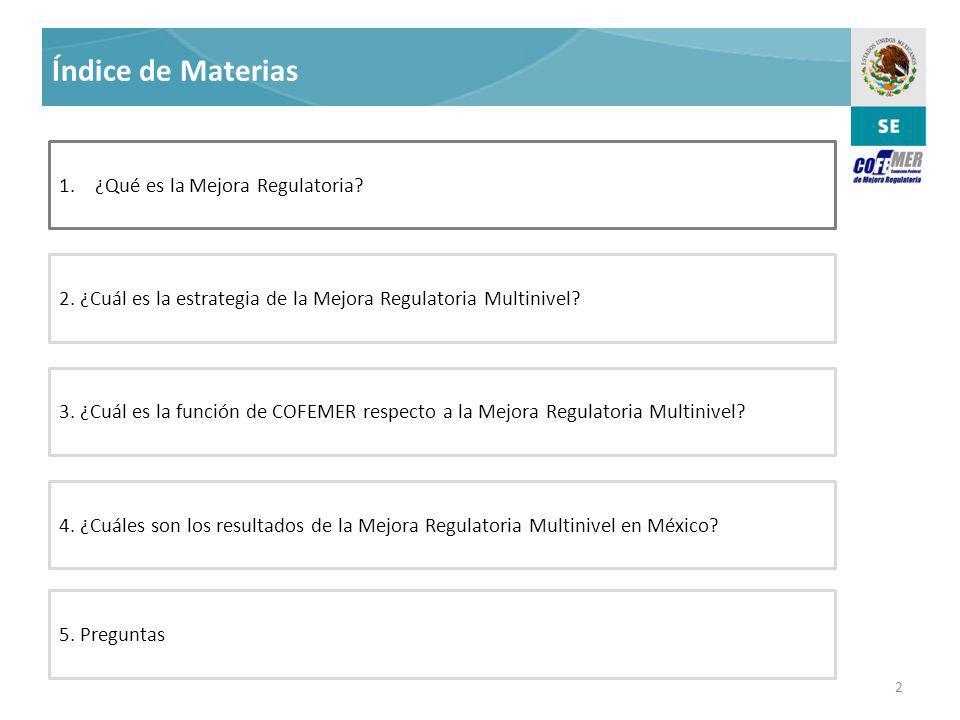 2 Índice de Materias 1.¿Qué es la Mejora Regulatoria.