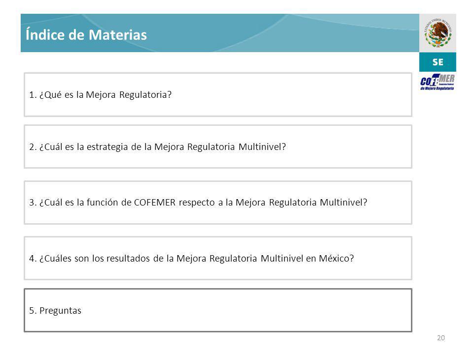 20 Índice de Materias 5.Preguntas 3.