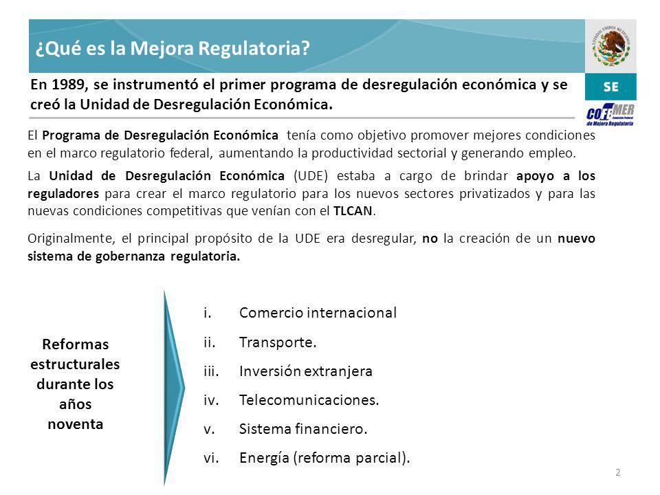 El marco regulatorio mexicano ha mejorado considerablemente con la creación de la Comisión Federal de Mejora Regulatoria (COFEMER).