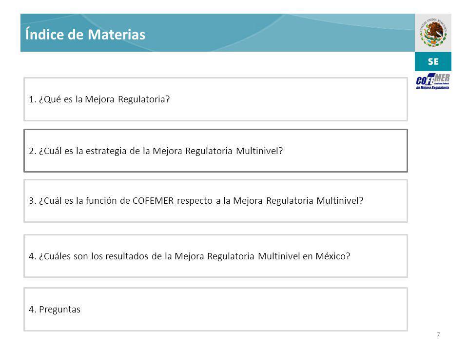 7 Índice de Materias 2.¿Cuál es la estrategia de la Mejora Regulatoria Multinivel.